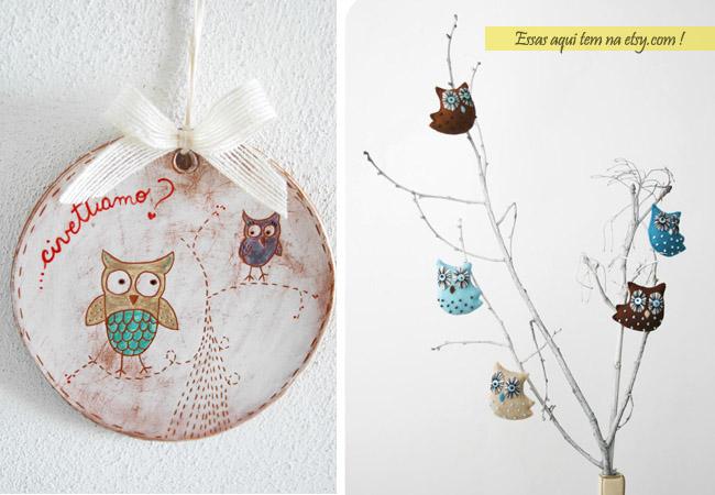 corujas na decoracao